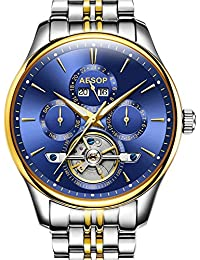 Men Calendar Automatic Mechanical Skeleton Perpetual Stainless Steel Watches (Silver Gold&Blue)
