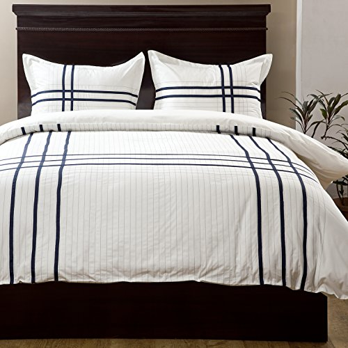 3 Piece Set Headboard (Textrade USA 3 Piece Albania Duvet Set with King Shams, King, White)