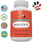 Best Senior Dog Vitamins Supplement - #1 for Multivitamin for Nutrients, Calcium, Digestive Enzymes & Antioxidants - Chicken Liver Taste Chewable Tablets - 60 Count