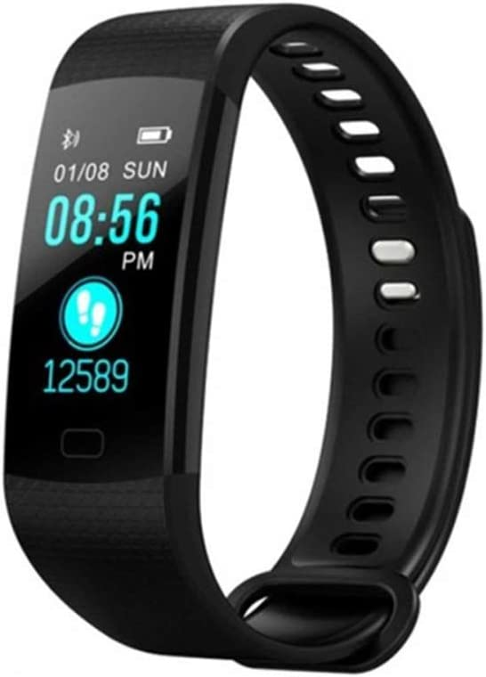 Reloj inteligente rastreador de actividad pantalla color impermeable Monitor de ritmo cardiaco reloj cardio mallalah Fitness inteligentes pulsera inteligente Negro