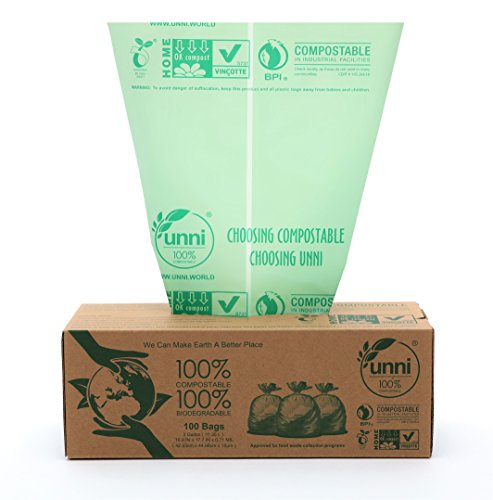 Unni ASTM6400 Certified 100% Compostable Bags, 3 Gallon, 100 count, Extra Thick 0.71 Mils, Small Kitchen Trash Bags,Biodegradable Food Scraps Yard Waste Bags, US BPI and European VINCOTTE Certificated