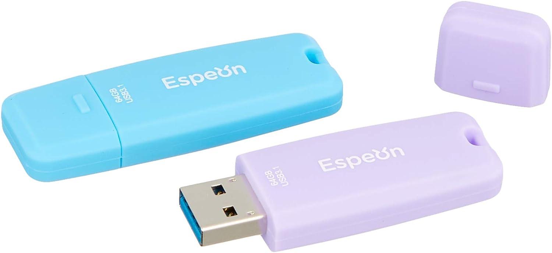 Espeon Pack de 2 Unidades, 64 GB Memoria USB 3.1 Flash Drive, Carcasa de Goma, colores pastel - Azul Claro, Violeta Claro: Amazon.es: Informática