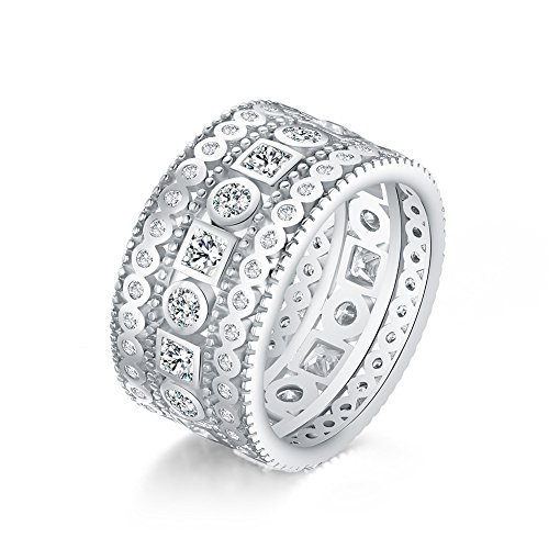 Mozume Princess Brilliant Cubic Zirconia Eternity Ring Cocktail Wide Band 925 Sterling Silver ()