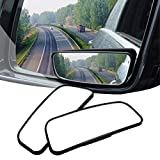 Blind Spot Mirror , GAXIOG Wide Angle Mirror ABS& Glass 360° Can be Adjustable or Fixed installed ,Larger image and traffic safety (Pack 2)