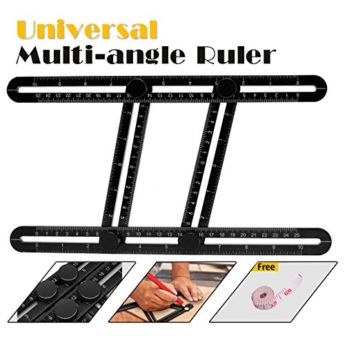 Multi Angle Measuring Ruler, Universal Angleizer Ruler Measuring Template Tool Premium Easy Angle Ruler Perfect for DIY, Craftsmen, Handymen,Carpenters,Wood Worker, Roofers(Black)