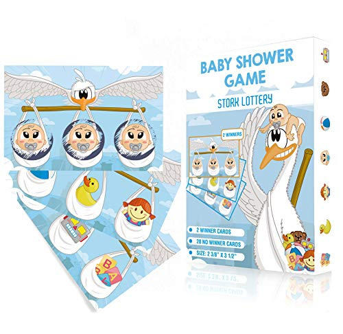 Baby Shower Games   Baby Shower Scratch Off Game - Stork Lottery Ticket Raffle Cards   2 Winners   Gender Neutral, Boy, Girl   Funny Activity for Diaper Raffles, Ice