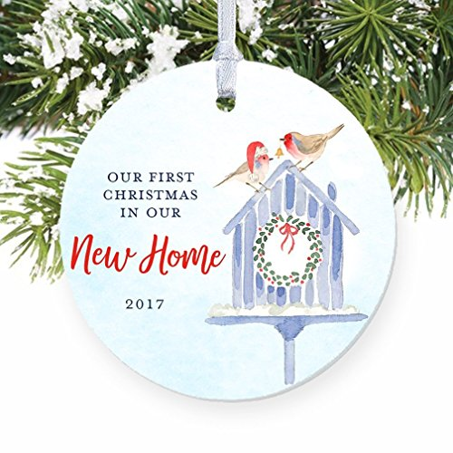 First Christmas In Our New Home 2017, 1st Xmas Ornament New House Homeowners Housewarming Pretty Watercolor Birdhouse Circle Ceramic Congrats Present 3