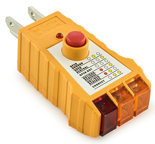 Bastex Socket Tester with GFCI check. Receptacle Tester for Standard AC Outlets. Includes 7 Visual Indications and Wiring Legend. Automatic Electric Circuit Polarity Voltage Detector Breaker (Voltage Sensor Circuit)