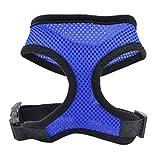 Dog Pet Vest,Soft Mesh Dog Harnesses Padded Vest Comfort Double Layer Harness Pet Puppy Strap Leash Collar (Blue, M)