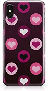 iphone X Case Valentines Day Couples Love Pink Heart Pattern Low Profile Modern Design Durable Wrap Around iPhone 10 Case