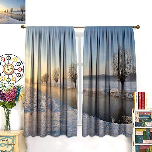 Anniutwo Winter Blackout Curtain Snowy River Landscape Barren and Frosted Trees Dutch Netherlands Europe Photograph Patterned Drape for Glass Door W55 x L72 inch