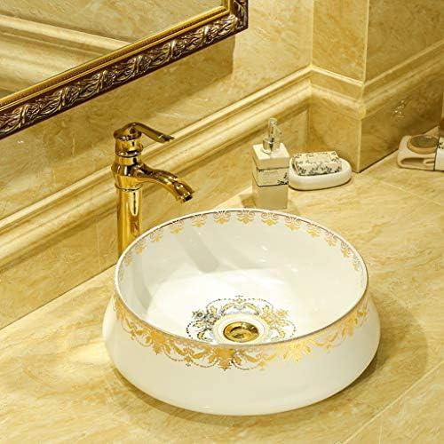 DS- バスルームの洗面台、(タップなし)単一流域ラウンド家庭セラミック化粧家庭シンク、利用可能な2色 洗面ボール && (Color : B)