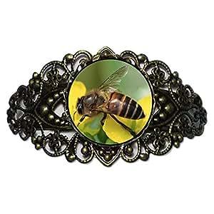 Chicforest Bronze Retro Style Honeybee Gather Pollen Flower Cuff Bracelet