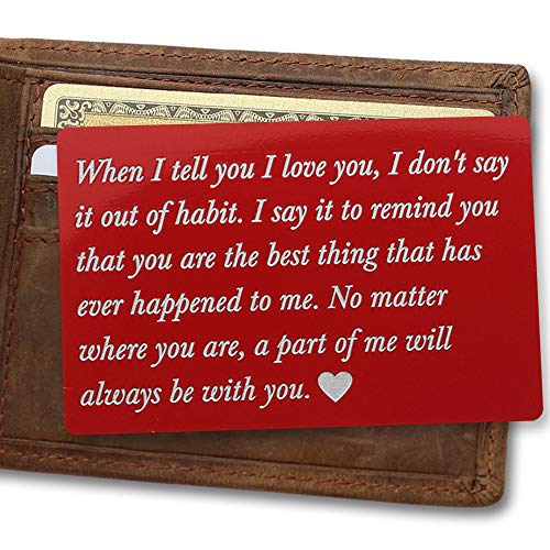 Personalized Wallet insert, Red Wallet Card Insert, When I Tell You I Love You, Groom Gifts for him, Boyfriends gifts, Anniversary Gifts, Husband Gifts from Wife