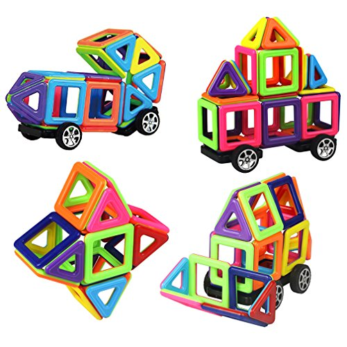 3d Magnet (Magnetic Building Blocks Toys Set Preschool Educational Stacking Toy 76 Pieces 3D Magnet Building Construction Kit for Kids Over 3 Years Old)