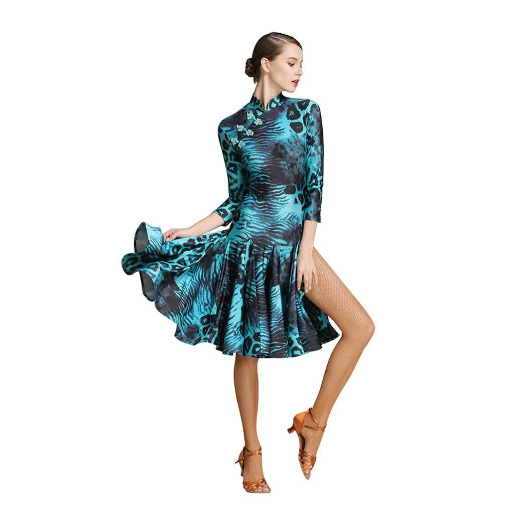 女性のラテンダンスの練習服、オープンチョンサムの首輪ドレス B07H89HQRK XL|グリーン グリーン XL