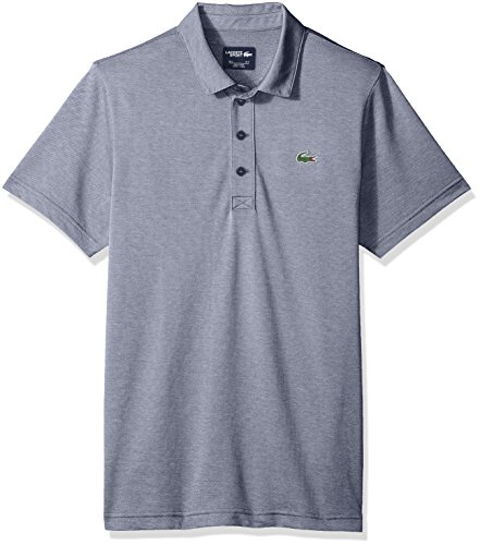 Lacoste Men's Short Sleeve Jersey Caviar Print with Button Front Placket Polo, Navy Blue/White, XX-Large
