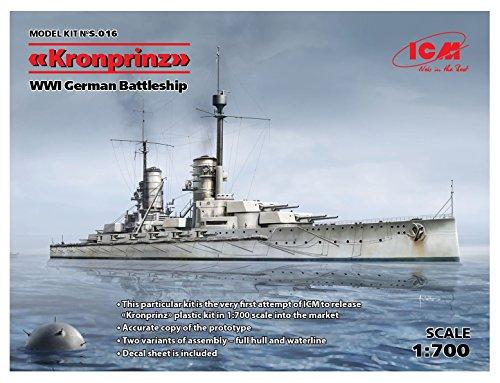 (ICM s.016Full Hull & Waterline Model Kit Kronprinz WWI German Battleship)