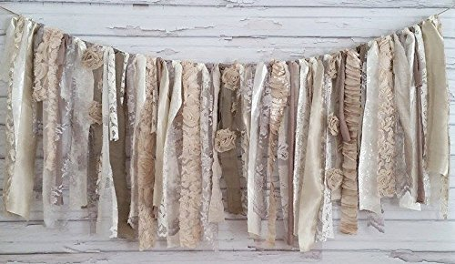 Neutral Shabby Chic Rag Tie Garland: ~ Photo Shoot ~ Wedding ~ Birthday ~ Nursery ~ Bridal Shower ~ Highchair Banner ~ Gender Reveal Parties ~ Decorations ~ Wall Decor! (10 FEET WIDE) by Modern Rag Quilts