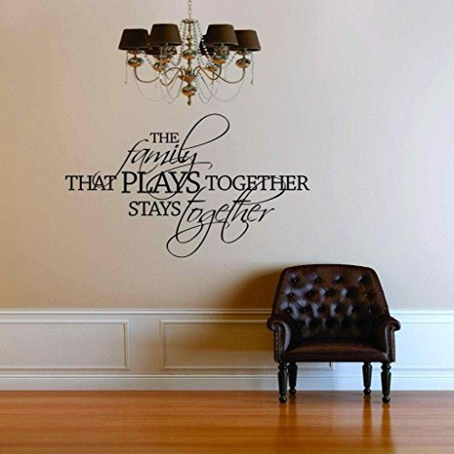 Top Selling Decals - Prices Reduced : The Family That Plays Together Stays Together Quote Postive Home Life Art Lettering - Peel & Stick Sticker - Vinyl Wall Word Art Decor 22 Colors Available Item 15x30 (The Family That Plays Together Stays Together Quote)