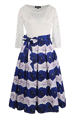 Buy belted lace dress with tribal print skirt - 9