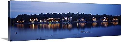 Boathouse Row lit up at Dusk