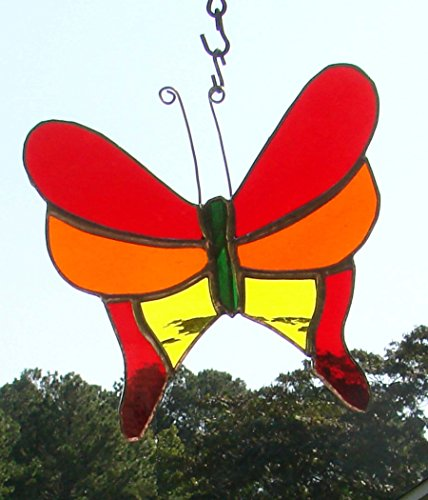 Handmade Stained Glass Butterfly Large Red Orange Yellow Garden Ornament Sun Catcher (Yellow Butterfly Stained Glass Suncatcher)