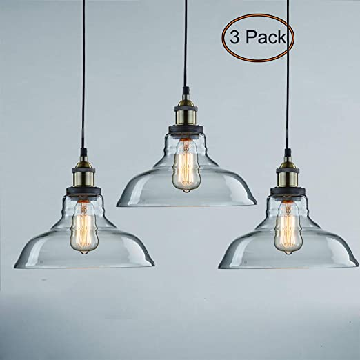 CLAXY Ecopower Industrial Pendant Lighting Glass Kitchen Island Hanging  Lights-3 Pack