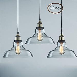 CLAXY Ecopower Industrial Pendant Lighting Glass Kitchen Island Hanging Lights-3 Pack