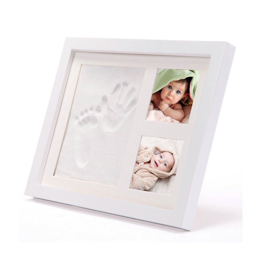 Patty Keikis Baby Handprint and Footprint Mold Frame Kit - Memorable Keepsake for Boy or Girl - Perfect Gift for New Moms - Solid Wood with Wall Mount or Stand - Safe Non-Toxic Clay and Acrylic Glass