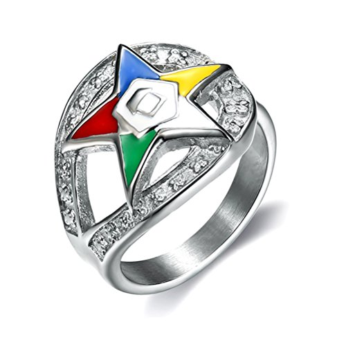 Order of the Eastern Star Ring - Silver Stainless Steel Color Looped Band with OES Symbol. Masonic Rings / OES Jewelry (7)