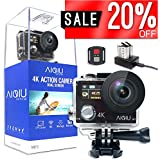 AIQiu 4K WiFi Action Camera Dual Screen Waterproof Camcorder Sports Camera Ultra HD 12MP 170 Degree Wide Angle/ 2 Rechargeable 1350mAh Batteries/ 2.4G Wireless Remote Control/ 22 Mounting Kits