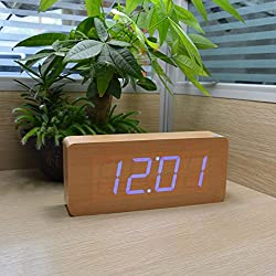 Wooden Digital Clock, KABB 8-Inches Natural Bamboo Grain Blue LED Light Alarm Clock with Time Date Temperature Display and Acoustic Control Functions for Office and Home Decoration