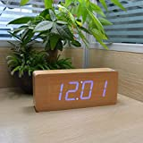Wooden Digital Clock, KABB 8-Inches Natural Bamboo Grain Blue LED Light Alarm Clock with Time Date Temperature Display and Snooze & Acoustic Control Functions for Office and Home Decoration