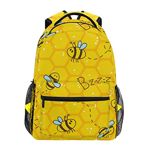 School Backpack Cute Bees And Honeycombs Bookbag for Boys Girls Travel Bag