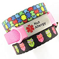 3 Bracelet Value Pack | Nut Allergy, Kid's Medical Alert Bracelets | Choice of Fun Designs | Children's Medical ID Bracelets | Adjustable