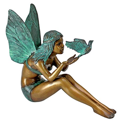 Design Toscano Bird Fairy Garden Statue, Cast Bronze