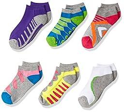 Jefferies Socks Big Girls\' Tech Sport Low Cut 6 Pack, Multi, Medium