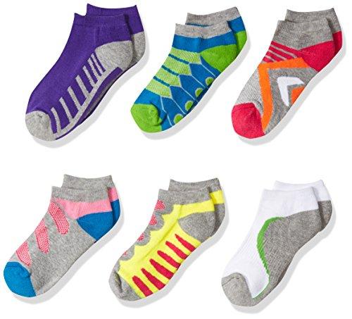 Jefferies Socks Girls' Big Tech Sport Low Cut Socks 6 Pack, Multi, Medium ()
