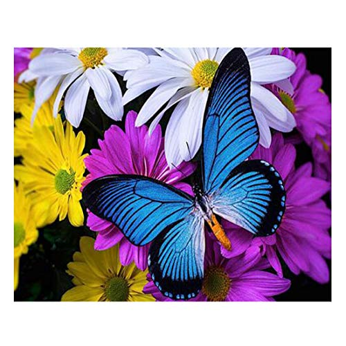 40x50cm Handmade DIY Craft Round 5D Diamond Pictures Butterfly Flowers Painting Full Circular Embroidered Embroidery Needlework Sewing Kits for Home Decoration