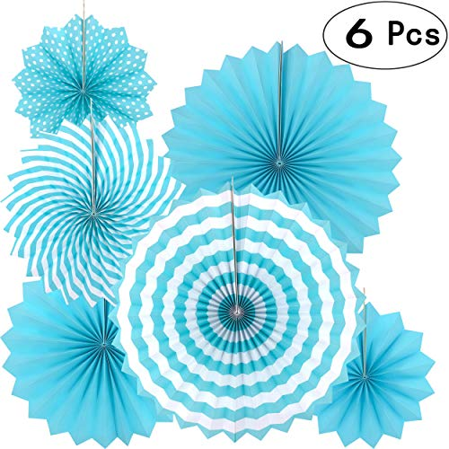 Blue Round Hanging Paper Fans Decorations Baby Shower Birthday Wedding Engagement Bridal Shower Party Fans Decorations, 6pc