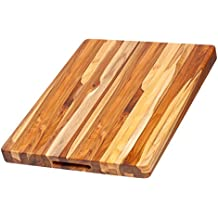 Teak Cutting Board - Rectangle Carving Board With Hand Grip (20 x 15 x 1.5 in.) - By Teakhaus