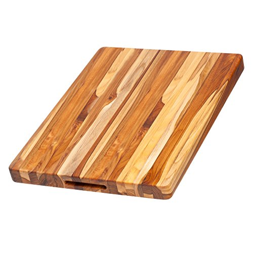 Proteak Chopping Block (Teak Cutting Board - Rectangle Carving Board With Hand Grip (20 x 15 x 1.5 in.) - By)