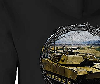Zip Up Hoodie Barbed Wire Around US Military Abrams Tank Desert