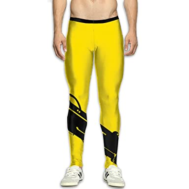 9785a3ae66 Amazon.com: Fri Yellow And Black Comfort Compression Pants/Running Tights  Baselayer Mens Winter Pants Guys Tall: Clothing