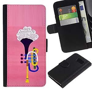 LASTONE PHONE CASE / Lujo Billetera de Cuero Caso del tirón Titular de la tarjeta Flip Carcasa Funda para Samsung Galaxy S6 SM-G920 / The trumpet