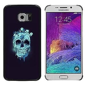 EJOY---Cubierta de la caja de protección la piel dura para el ** Samsung Galaxy S6 EDGE ** --Cráneo azul