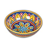 Hand Painted Italian Ceramic Geometric Cereal / Fruit Bowl S4 - Handmade in Deruta