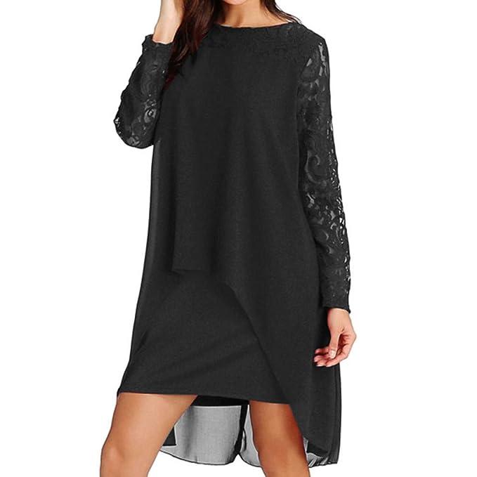 Amazoncom Women Chiffon Dress Overlay Lace Long Sleeve