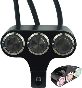 """12V Motorcycle 7//8/"""" Handlebar Headlight Fog Light Horn ON OFF Start Kill Switch"""